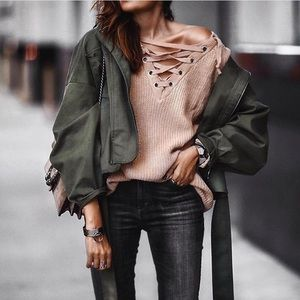 Sweaters - Lace up sweater.